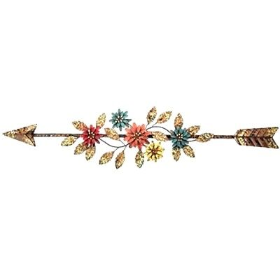 """Wall Decor Metal Arrow With Colorful Flower and Leaves Accents 24.25"""" Wide"""