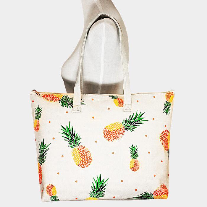 Women's Pineapple Print Canvas Tote Handbag Purse With Zippe