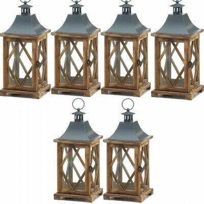 Lattice Pine Wood Lantern 6pc Set Candle Holder Wedding Centerpieces](Wood Wedding Centerpieces)
