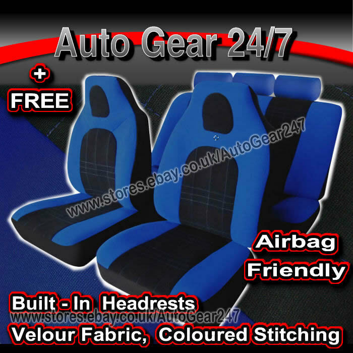 Blue Black Air Bag Friendly Hi-Back Front Built in Headrests Car Seat Covers Set