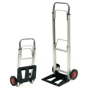 Compact Folding Aluminium Frame Hand Truck Trolley Luggage Cart Foldable 100Kg