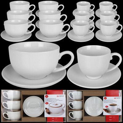 12tlg Tassen Set Kaffee Cappuccino Espresso Tasse Kaffeetasse Untertasse Weiß Cappuccino-tasse