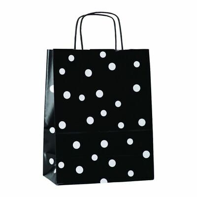 Morplan, Black Spotty Paper Carrier Bags, Small 24 x 31 x 12 cm, Pack of 50