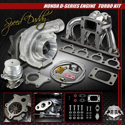 Crx Turbo Kits - T04E 5-PC TURBO KIT TURBOCHARGER+SS MANIFOLD+WG 88-00 D15/D16 CIVIC/CRX/DEL SOL