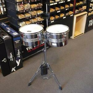 """MP Timbales 10""""-11"""" avec cloche et stand - used/usagés"""