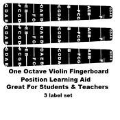 3 Violin Fingerboard Fretting Stickers labels for 4/4 Full Sized Violin.