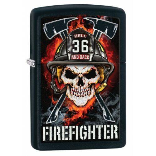 ZP2  Zippo Lighter: Skull Firefighter - Black Matte 80748 hell and back 36