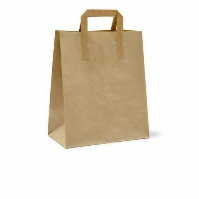 Kraft Paper Carrier Bags (Large) TAKEAWAY FOOD DELI LUNCH BAG pack 250