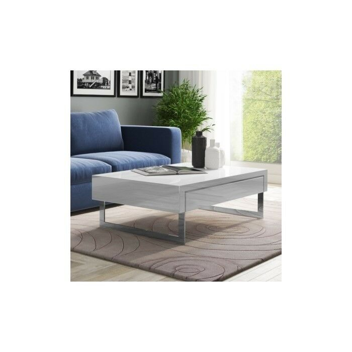 Brand New Evoque White High Gloss Coffee Table With Storage Drawers