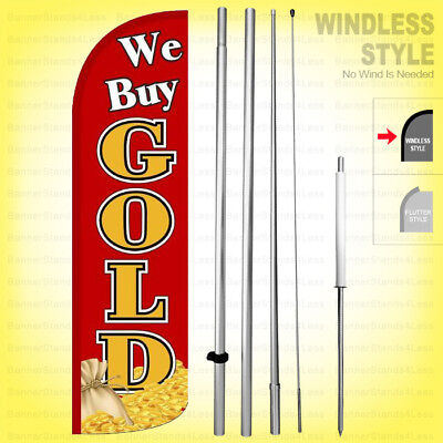 We Buy Gold - Windless Swooper Flag Kit 15 Feather Banner Sign Rq-h