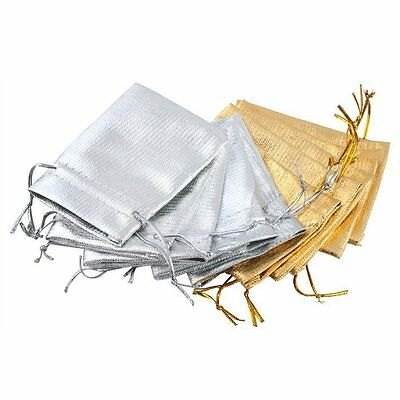 Lot of 100/50 Gold Silver Stain Organza Jewelry Gift Wedding Favors Bags Pouch - Gold Favor Bags