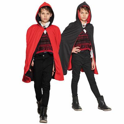 NEU Umhang mit Kapuze für Kinder,schwarz/rot,115cm ()