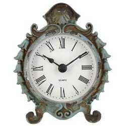 Blue Pewter Table Clock. Vintage Appeal. Timeless Piece of Decor to any Room