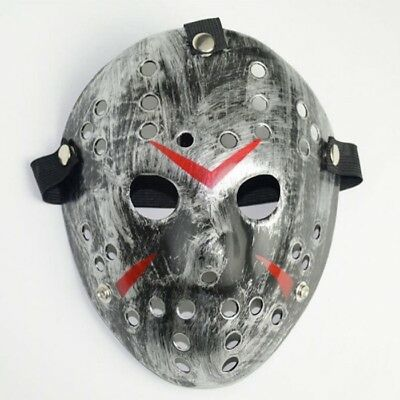 Deluxe Hard Plastic Halloween Horror Jason Ice-Hockey COSTUME MASK Rough Silver