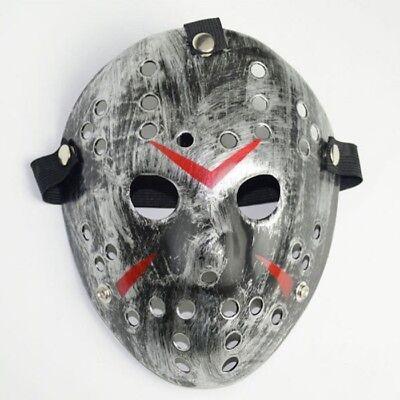 Ice Hockey Maske Halloween (Deluxe Hard Plastic Halloween Horror COSTUME MASK Ice-Hockey Design Silver)