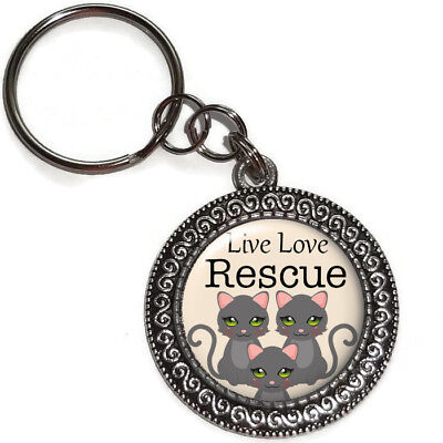 Key Ring LIVE LOVE RESCUE CATS Purse Charm Zipper Pull Key Chain Handmade USA - Live Animal Keychain