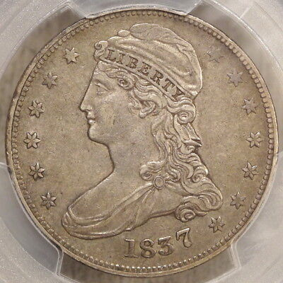 1837 Capped Bust Half Dollar, Reeded Edge, PCGS XF-45, Well Struck