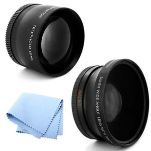 58mm 2X Telephoto and .45x Wide Angle Lens HD for Canon T3 SLR Camera