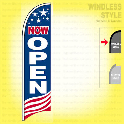 Now Open - Windless Swooper Flag 2x11.5 Ft Feather Banner Sign Usa Bb