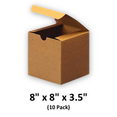 Brown Cardboard Kraft Tuck Top Gift Boxes With Lids 8x8x3.5 10 Pack