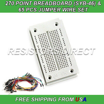 270 Point Breadboard Syb-46 65pcs Jumper Wire Solderless Pcb Prototyping New