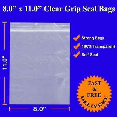 8 x 11 Inch 1000 Branded  Grip Seal ZIP LOCK Resealable Clear Plastic 20cm x28cm