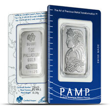 1 oz PAMP Suisse Fortuna Design .9995 Fine Palladium Bar - Sealed In Assay Card