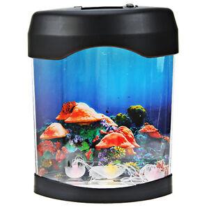 Usb desktop mini aquarium fish tank w led light three toy for Toy fish tank