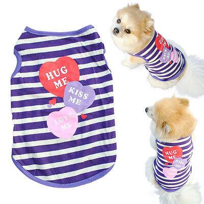 (Pet Puppy Cool Navy Style Shirt Small Dog Cat Pet Clothes Stripe Vest T Shirt)