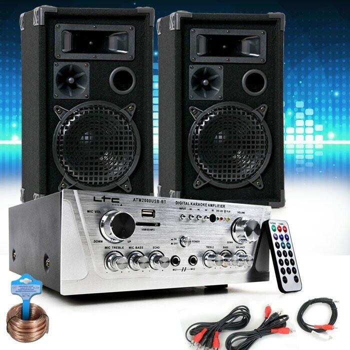 Party Musikanlage PA Anlage Standboxen Lautsprecher USB MP3 Verstärker DJ-Set