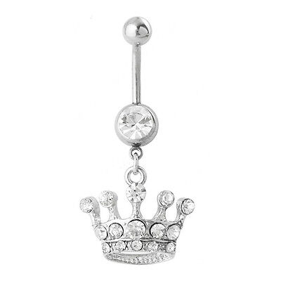 Belly Button Ring JEWELED CROWN Stainless Steel 14g Navel Piercing Body -