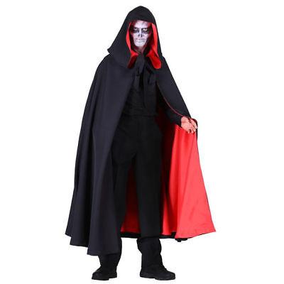 Mantel Halloween Deluxe, schwarz-rot, Halloweenkostüm Gothic Verkleidung (Halloween-kostüm Schwarzer Mantel)