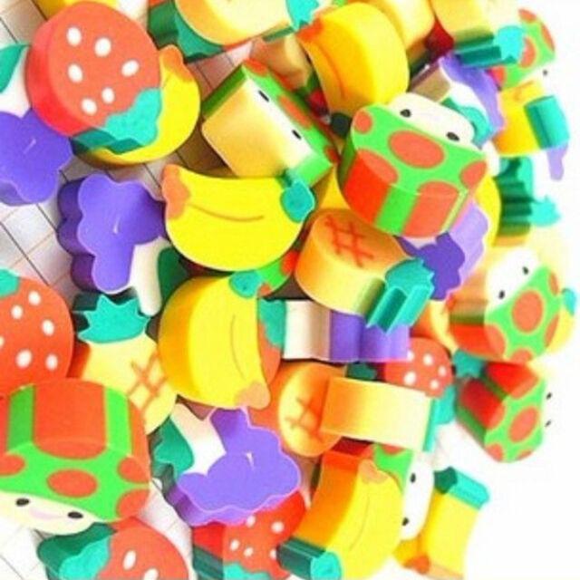 50x Novelty Fruit Pencil Rubber Eraser Erasers Stationery Kid Encourage Gifts HG
