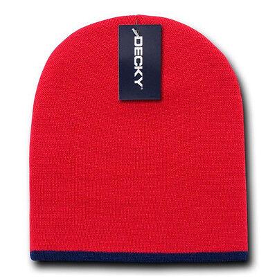 - SINGLE STRIPED BEANIE HAT Short Knit Cap winter ski snowboard watch skull RED
