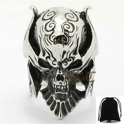 Men's Garo Knight Skull Ring Samurai Warior Armor Silver 316L Stainless Steel - Samurai Warior
