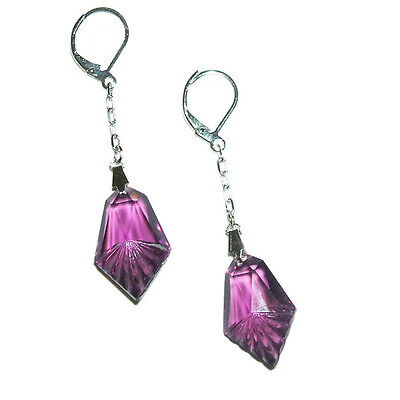 ART DECO EARRINGS Purple Amethyst Czech Pressed Glass Drops Silver Pltd