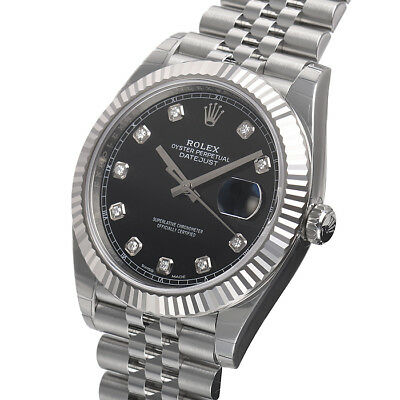 Rolex Datejust 41mm 126334 Jubilee Bracelet Black Diamond Dial Watch