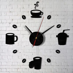 New Modern DIY Wall Clock 3D Mirror Surface Sticker Home Decor Self Adhesive