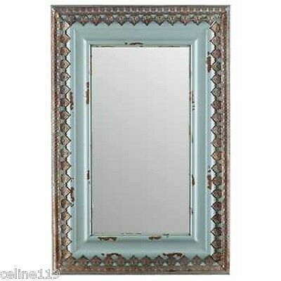 "Capacious 30"" Distressed Blue Wood & Metal Mirror Home Wall Decor Shabby Chic New"