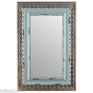 Large 30 Distressed Blue Wood Metal Mirror Home Wall Decor Shabby Chic New Ebay