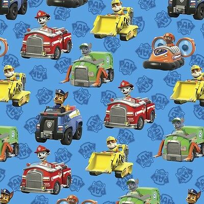 Paw Patrol Rescue Car Toss Blue 100% Cotton Fabric by the Yard](Paw Patrol Fabric)