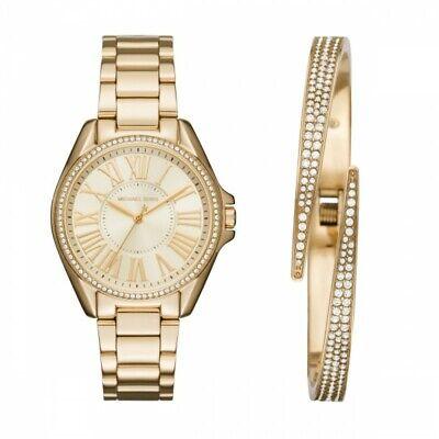 Dial Bracelet Watch Set (NEW Michael Kors Kacie Ladies Watch Set Gold Sunray DIal MK3568 Pave Bracelet  )