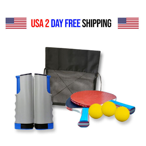 7-Piece Table Tennis/Ping Pong Set, Expandable, Net, 2 Paddles, 3 Balls and Bag