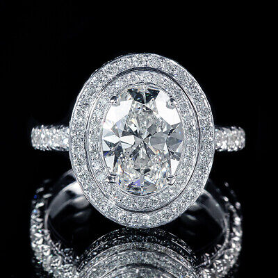 1.51ct Oval Double Halo Pave Diamond Engagement Ring F/SI1 GIA Certified 18K