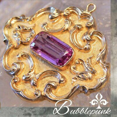 Vintage Solid 18k Gold Pink Tourmaline Sapphire Florentine Pin Pendant -
