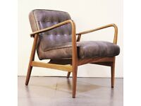 Brand New Shoreditch Black Real Leather Mid Century Armchair - Button Detail