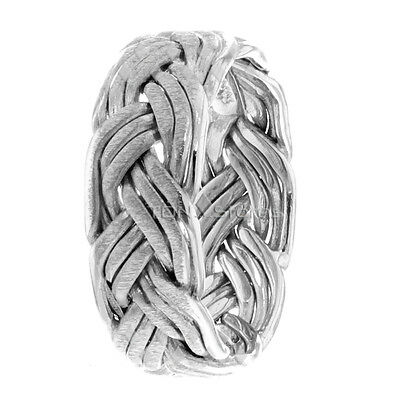 WOMENS HAND BRAIDED RING 14K WHITE GOLD MENS BRAIDED WEDDING BANDS GOLD 7MM ()