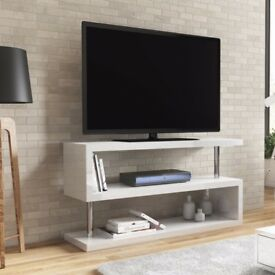 Artemis White High Gloss Geometric TV Stand