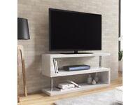 Artemis White High Gloss Geometric TV Stand