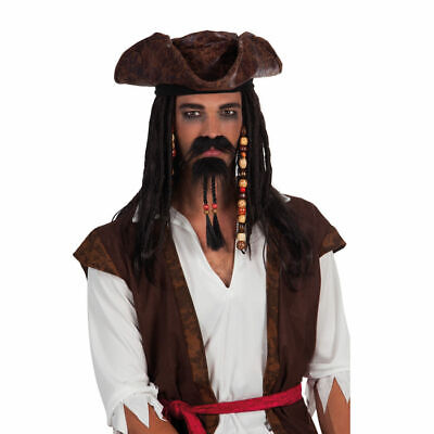 NEU Bart Pirat mit Perlen, schwarz Fakebart Kostümbart Karneval Fasching